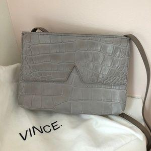Vince Croc Embossed Leather Crossbody Bag